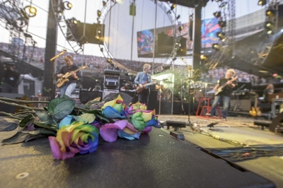 FTD, a leading online retailer of flowers and gifts, celebrated the 50th anniversary of the Grateful Dead by sharing Tie-Dyed Roses with concert goers at the Fare Thee Well concerts. The colorful roses also served as decor, adorning the stage and backstage area during the opening night concert at Soldier Field on Friday, July 3, 2015 in Chicago.