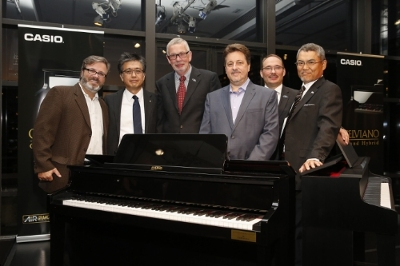 Mike Martin, Koyo Nagoya, Karl Schulze, Stephen Schmidt, Ralf Dewor, and Shigenori Itoh seen at Casio's Grand Hybrid event at the Stanley H. Kaplan Penthouse in Lincoln Center, New York City on September 16, 2015.