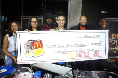 Flavor Battle host and legendary DJ Clark Kent stands alongside the 2015 Flavor Battle winner, DJ Rhetorik of NewYork. at the finale at Orbit Nightclub during Global Spin Awards weekend. The sixth annual McDonald's Flavor Battle, a national online DJ competition, showcases some of America's hottest up-and-coming mix-masters. The competition began with 12 DJs representing three regions across the country (Pictured left to right: radio host, Angela Yee, Sprite Senior Customer Marketing Manager, Chrystal Reynolds, DJ Clark Kent, DJ Rhetorik, CEO of Powermoves Marketing & Promotions, Shawn Prez and McDonald's U.S. Marketing Director, William Rhodes.