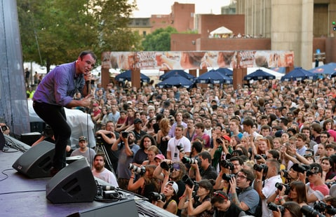 Samuel T. Herring and Future Islands perform during the 2014 Boston Calling Music Festival, attended by 45,000 fans, at Boston City Hall Plaza on September 5, 2014 in Boston, Massachusetts.