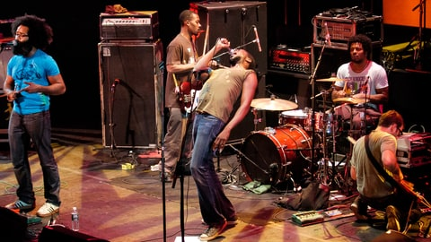 American band TV on the Radio perform onstage at 'Winter Soul' at the Brooklyn Academy of Music's Howard Gilman Opera House, Brooklyn, New York, New York, January 7, 2005. Pictured are, from left, Kyp Malone, Gerard Smith on electric bass guitar, vocalist Tunde Adebimpe, Jaleel Bunton on drums, and David Andrew Sitek on guitar. (Photo by Jack Vartoogian/Getty Images)