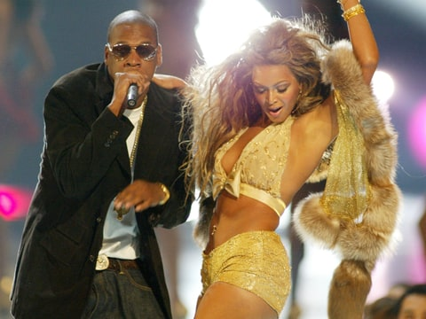 Jay-Z and Beyonce Knowles perform at the 2003 MTV Video Music Awards during 2003 MTV Video Music Awards - Show at the Radio City Music Hall in New York City, New York.