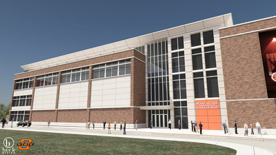 The Michael and Anne Greenwood School of Music at Oklahoma State University, depicted in this conceptual rendering, will house music laboratories, classrooms, rehearsal spaces and premier teaching studios. It will be located adjacent to The McKnight Center for the Performing Arts, currently under construction. Both are scheduled to open in fall 2019 and will further propel music education and performing arts programs at OSU. The New York Philharmonic will perform at The McKnight Center's debut.