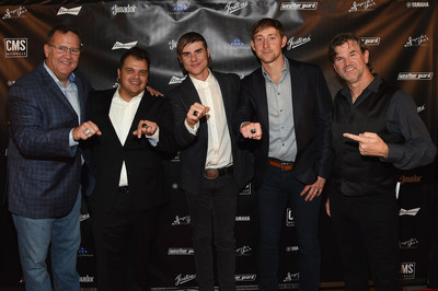 NASHVILLE, TN - NOVEMBER 07: (L-R) VP Marketing Curt Bruns, Justin Ebach, Ross Copperman, Ashley Gorley, and CMS Nashville Chairman and CEO Chris King attend the Folds Of Honor CMS Nashville Songwriter of the Year Party 2017 at FGL House on November 7, 2017 in Nashville, Tennessee. (Photo by Rick Diamond/Getty Images for CMS)