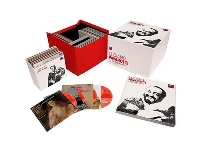 "On December 1, in observance of the tenth anniversary of Pavarotti's passing, Decca/UMe will release ""Luciano Pavarotti: The Complete Opera Recordings,"" encompassing 95 CDs and 6 Blu-ray Audio discs. The voluminous 101-disc limited edition collection offers an exhaustive survey of Pavarotti's Decca, Deutsche Grammophon and Philips recordings plus two recordings made for EMI/Warner Classics. (PRNewsfoto/UMe)"