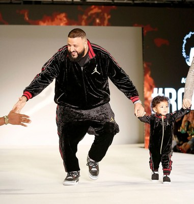 DJ Khaled and son Asahd Khaled at the Rookie USA Fashion Show in LA.